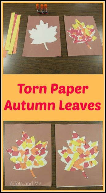 Littles Learning Link Up: October 9, 2018: Torn Paper Autumn Leaves
