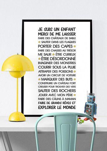 Affiche - Vie d'enfant - texte à télécharger : Affiches, illustrations, posters par rgb #poster #children #DécorationCheminée