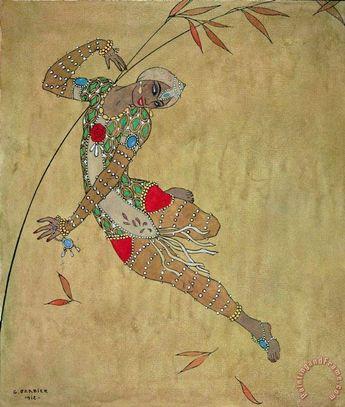 Nijinsky In Le Festin L'oiseau D'or Painting by Georges Barbier