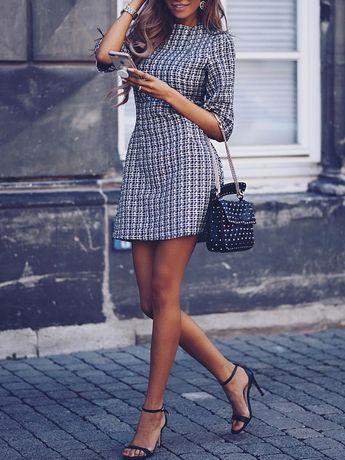 boutiquefeel / Houndstooth Half Sleeve Tweed Shift Dress