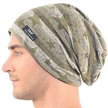 Mens Camouflage Thin Slouchy Beanie Cap Hat Oversize - Star Style-b106 -  CO12HV53UEL - 48146470fc7f