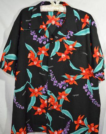 a8dc6236 Mens Hawaiian Shirt 2XL XXL Vintage Black Red Orange Floral Orchid Tiki  Summer