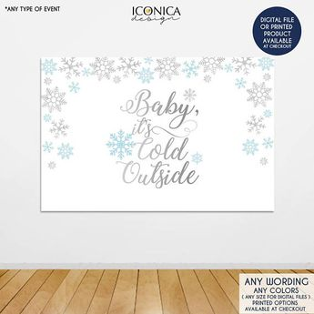 baby its cold outside backdrop light blue and silver snowflakes banner christmas party