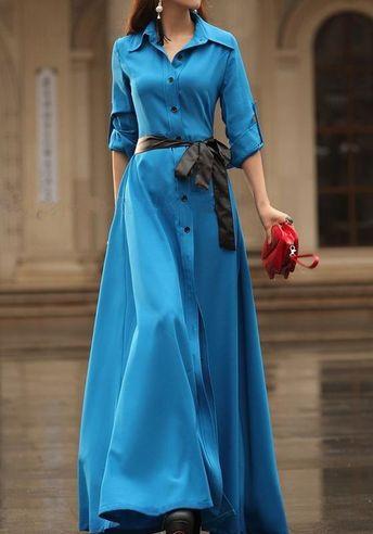Blue Plain Belt Turndown Collar Elegant Cotton Blend Maxi Dress