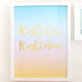 """Large Art Print - Gradient Turquoise, Pink, and Yellow - Right here, right now Art Print - 12"""" by 16"""""""