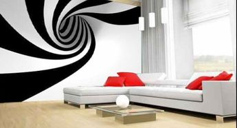 stunning living room decorated with optical wall paper - Embellish your home decor with the optical art