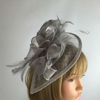 be99bb6d Silver Fascinator Grey Fascinator Wedding Hatinator Mother of the Bride  Occasion Hat Races Day