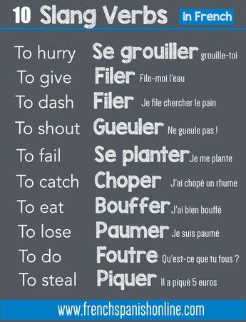 10 Slang Verbs in French, very common - Tap the link to shop on our official online store! You can also join our affiliate and/or rewards programs for FREE!