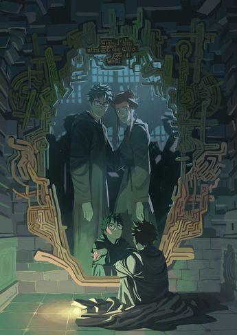 Fanart Harry Potter devant le Miroir du Riséd (VO : the Mirror of Erised), il y voit lui entouré de ses parents, une famille réunie et heureuse