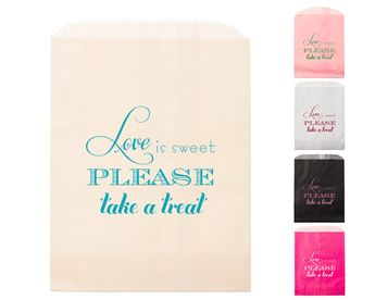 Love is Sweet Goodie Bags Foil Stamped Candy Bar Bag Party Wedding Favors Treat Bridal Shower Rehear