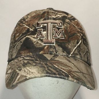 c4741e05261 Vintage Texas A and M Baseball Cap Camo Hat NCAA College Size M Fitted Hats  For
