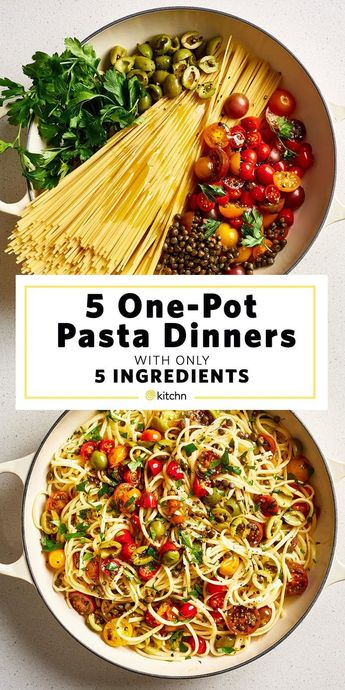 Need recipes and ideas for healthy one pot meals? These simple, fast, and easy dinners cook on the stovetop in one pan. We have meals that are vegetarian, but also some that have shrimp, pork sausage, and chicken. Great for families with kids or just adults. Just 5 ingredients! For the pictured puttanesca, you'll need spaghetti or linguine pasta noodles, halved cherry tomatoes, Castelvetrano olives, capers, and parsley.
