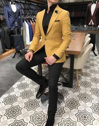 11e72580a9ce8 Terziademaltun - İtalyan stil erkek slim fit blazer sarı tek ceket T3131  #MensFashionSmart