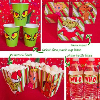 Grinch Water Bottle Labels I Made The Bottom Label Was The