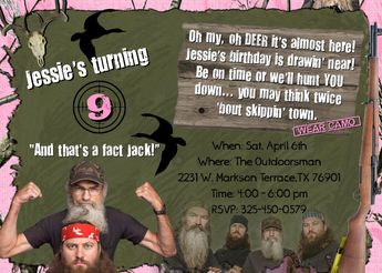 Duck Dynasty Party Invitations Duck Dynasty Birthday Part