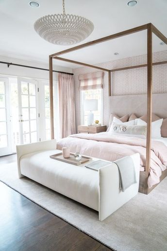 Jasmine Tookes Los Angeles Home Tour - neutral blush bedroom with canopy bed
