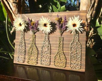 Mason Jar/Basket with Flowers - String Art