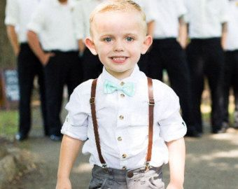 Leather Suspenders Ring Bearer Outfit Brown Leather Suspen