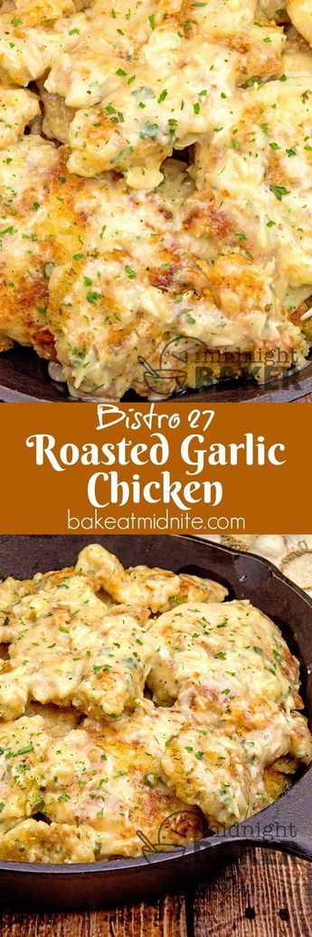 This delicious Parmesan panko crusted chicken in a savory roasted garlic sauce is one of the most popular recipes at Bistro 27 at the Catskill Country Club. #chickenfoodrecipes