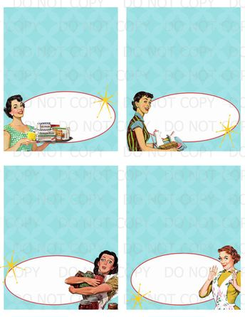 printable diy retro housewife bridal shower table tents or food labels 4 designs no