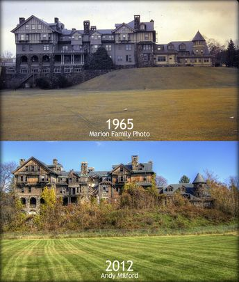 What an abandoned mansion looks like as it deteriorates when it's not cared for between 1965 and 2012.