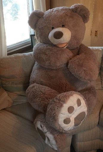 "Hugfun International Teddy Bear 53"" Giant Stuffed Animal Light Gray Large Plush"