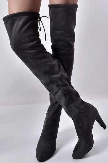 97925b127365 Faux Suede Almond-Toe High Heel Over-The-Knee Boots  boots