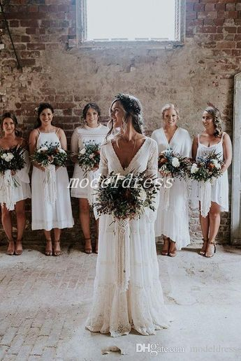 Discount 2019 Bohemian Wedding Dresses V Neck Long Sleeve Lace Sweep Train Beach Boho Garden Country Bridal Gowns Robe De Mariée Plus Size Bridal Dresses Online Bridal Store From Modeldress, $119.96| DHgate.Com