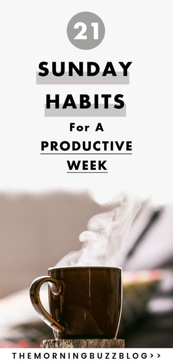 Tired of falling behind during the week? Your week doesn't have to be stressful. Here are 21 things you can do on Sunday to maximize your time and skyocket your productivity. Set your week up for success with these Sunday habits. #productive #productivity #productiveweek #productivitytips