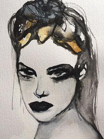 Wall Decor, Acrylic Painting, Black And White Art, Watercolor Portrait, Original Art, Woman Portrait, Mixed Media Art, Watercolor Painting