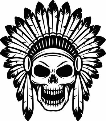Indian Skull #1 Native American Warrior Headdress Feather Tribe Chief Aztec Tattoo Logo .SVG .EPS .PNG Clipart Vector Cricut Cut Cutting