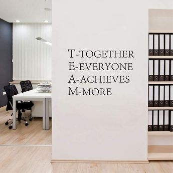 Team work Inspirational words poster quotes Wall Stickers for Office decor
