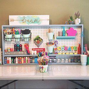 Peg Board Organizer With ChalkBoard for Craft Tools Pegboard Craft Room Organization Chalk Board