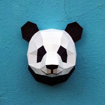 01 - papercraft panda head - printable digital template