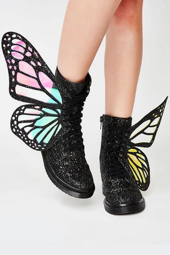 Black Metamorphic Glitter Lace Up Boots With Butterfly Wings