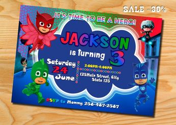 PJ Masks Invitation Birthday Party Pj