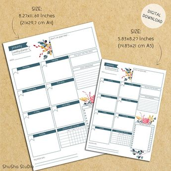 Printable 12 Months Weekly Planner, Printable Weekly Planner Pages Inserts,Instant Download