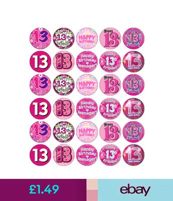 30 X 13th Birthday Cupcake Toppers Edible Paper Fairy Cake Topper Girl Pink