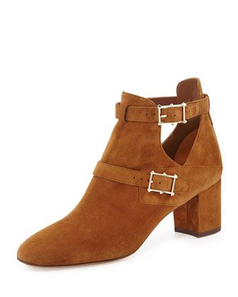 Valentino Suede Double-Buckle Ankle Boot, Taupe