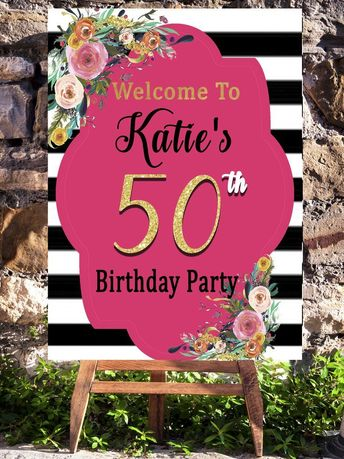 Pink 50th Birthday Party Decorations Welcome Sign