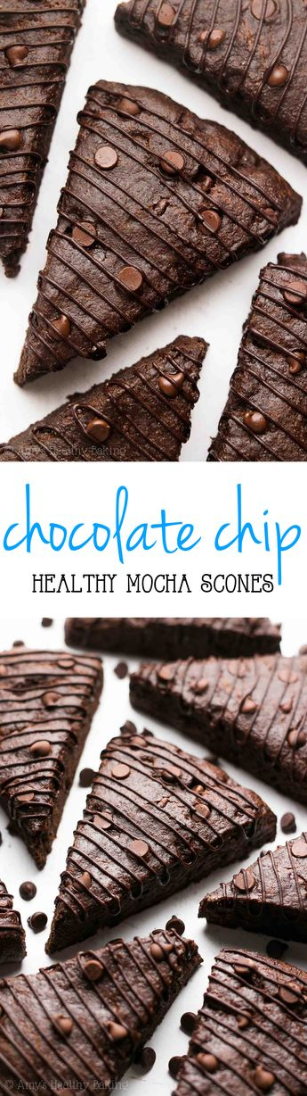 Healthy Mocha Chocolate Chip Scones -- practically like eating brownies for breakfast! So easy & 5g of protein!
