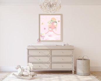 Ballerina Baby Girl Nursery Wall Art Print Ethereal Ballet Dancer Whimsical  Bohemian Floral Printable Decor