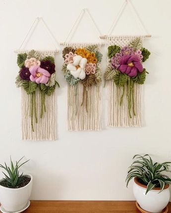 Floral Bouquet Wall Hanging, statement piece, girl nursery decor, macrame flower art, pink boho tapestry, gift for women, forever flowers