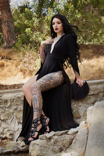 Pinup Girl Clothing | Gothic Glamour Gown in Black with High Double Slit – pinupgirlclothing.com