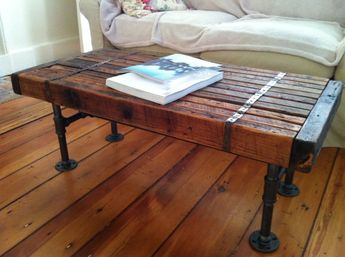 Reclaimed barnwood coffee table vintage/industrial by scottcassin, $335. This craftsman may be able to help us with the shelves that we want to make for the family room.