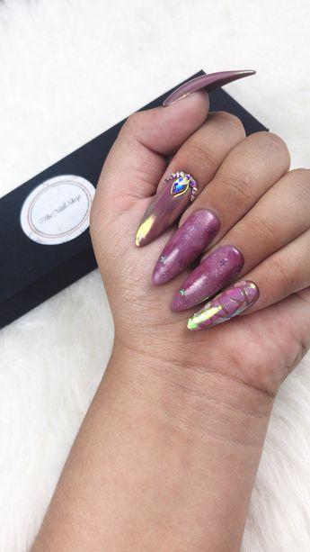 Purple galaxy | Swarovski Nails | Holiday Nails | Wedding Nails | Special Event Nails | Custom Nails |