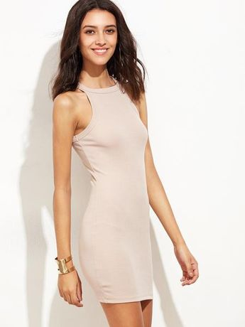 a9152b5f91b Pink Racer Rib Knit Sleeveless Bodycon Dress