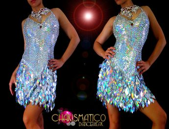 7e40318d9 Details about CHARISMATICO Halter style Latin dance dress w/ iridescent  silver diamond sequins