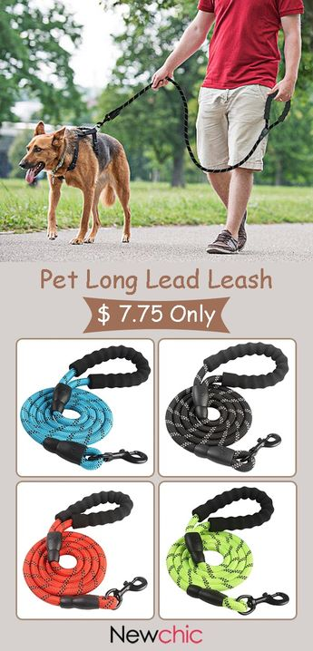 【US$ 7.75】5 Colors Reflective Strong Pet Long Lead Leash Large Dog Running Rope Safety Leash.#leadleash #decor #petsupplies
