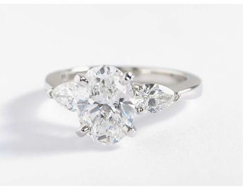Classic Pear Shaped Diamond Engagement Ring in Platinum (1/2 ct. tw